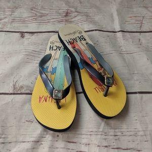 Brighton Beach Jewel Flip Flops Size 7